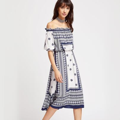 Blue And White Floral Print Off The Shoulder Blouson Dress