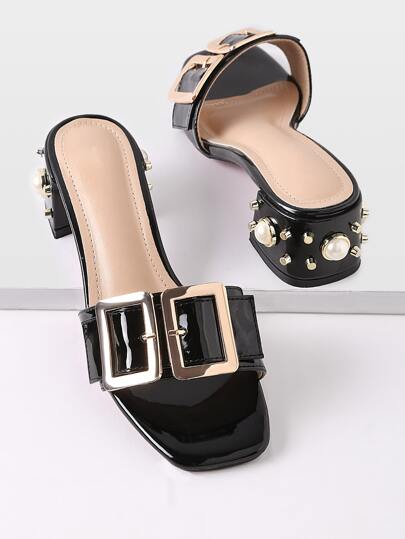 Buckle Design Faux Pearl Chunky Heeled Mules