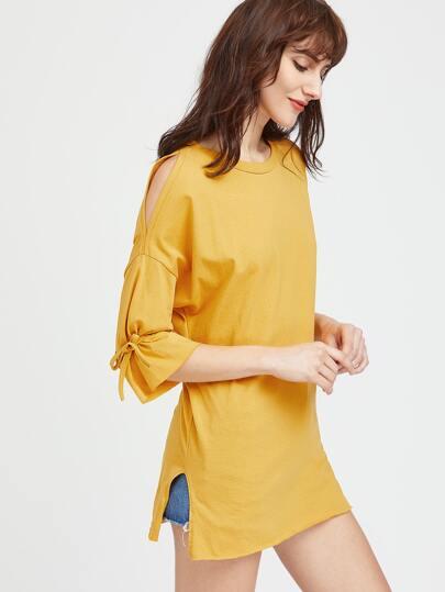 Camicia spalle con apertura e apertura laterale e corde
