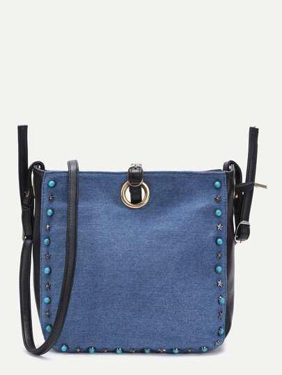 Blue Beaded Trim Denim Shoulder Bag