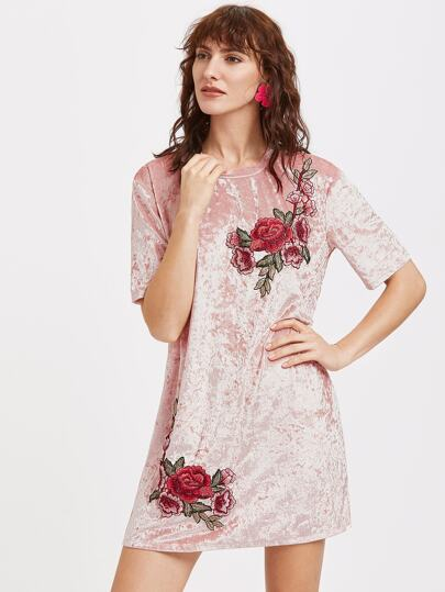 Pink Embroidered Rose Patch Velvet Dress