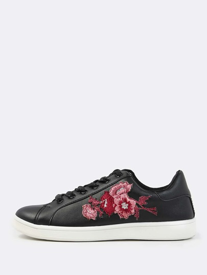 Faux Leather Embroidered Sneakers BLACK