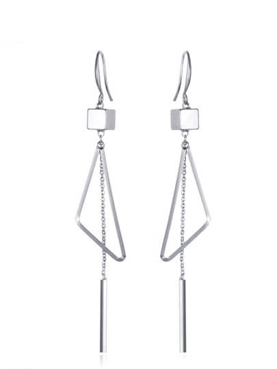 Silver Triangle And Bar Drop Earrings