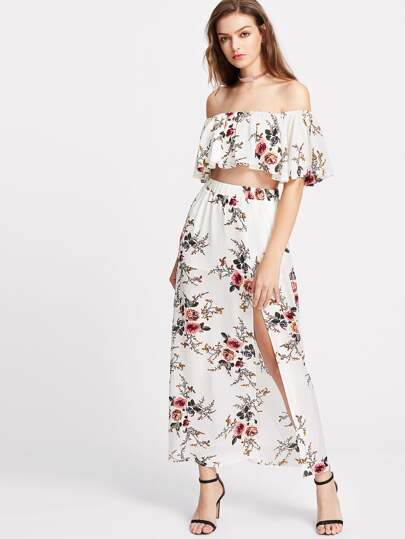 Flower Print Crop Swing Bardot Top With Slit Skirt