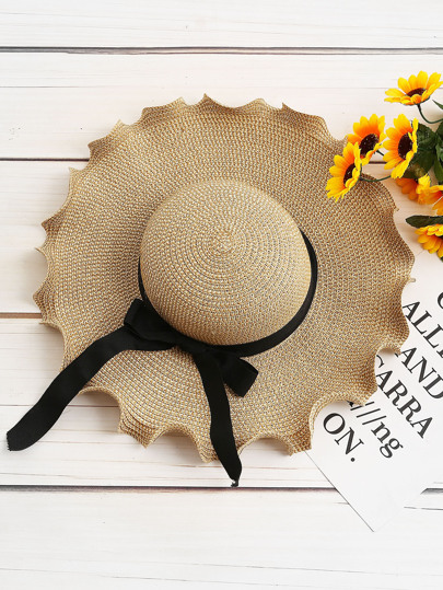 Sombrero de paja con diseño de cordón de lazo con volantes