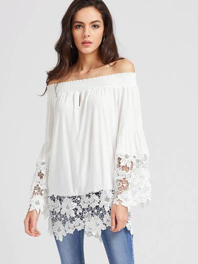 Bardot Contrast Crochet Lace Top
