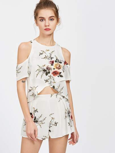 White Florals Cold Sholder Crop Slit Top With Shorts