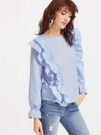 Blue Gingham Layered Ruffle Bell Cuff Top