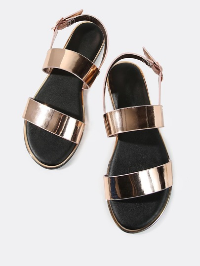 Double Band Metallic Sandals ROSE GOLD