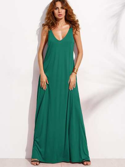 Double V-Cut Sleeveless Maxi Tank Dress
