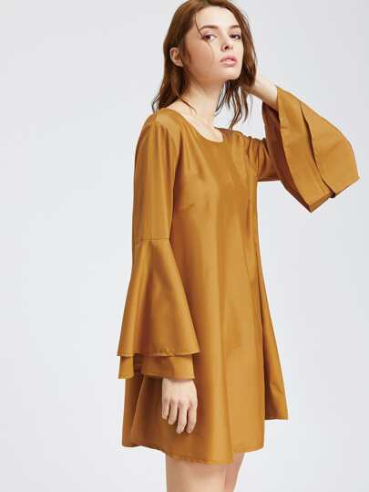 Khaki Tiered Bell Sleeve Lattice Back Shift Dress