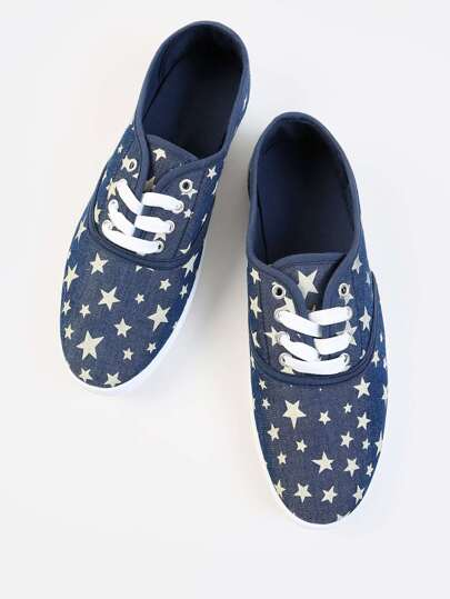 Star Print Lace Up Sneakers DENIM