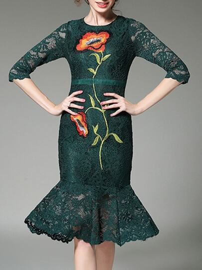 Green Flowers Embroidered Fishtail Lace Dress