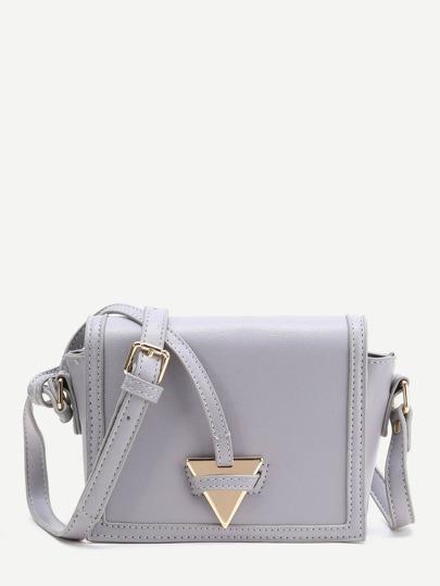 Triangle Detail PU Crossbody Bag