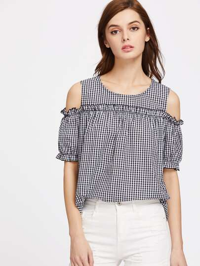 Gingham Open Shoulder Frill Trim Top