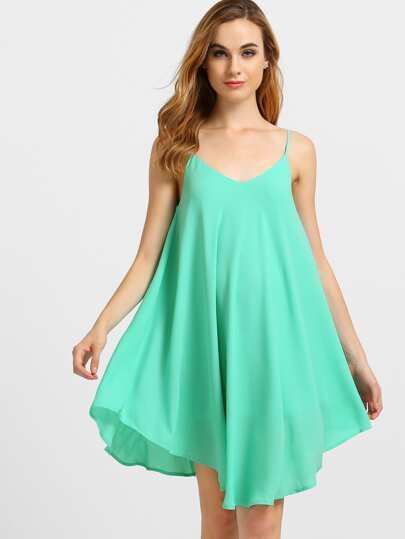Green Spaghetti Strap Asymmetrical Shift Dress Sundresses