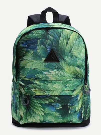 Green Leaf Patch Pattern Déplacer Déplacer Sac à dos
