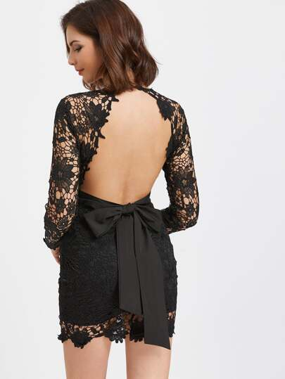Deep V Neck Open Back Crochet Lace Overlay Dress