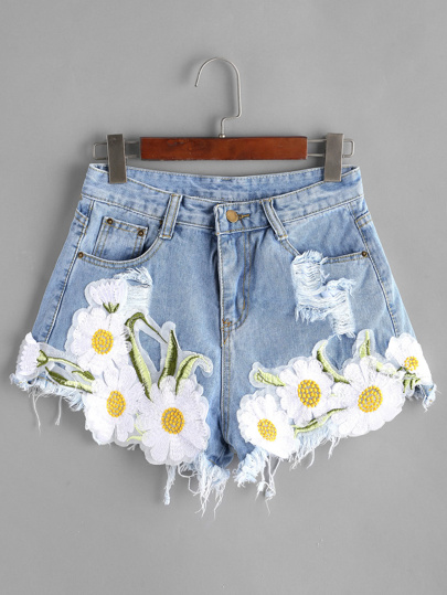 Light Blue Rippé Appliques Raw Hem Denim Shorts