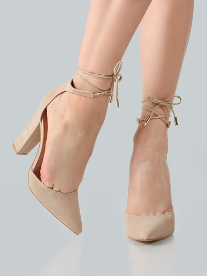 Point Toe Ankle Wrap Heels NUDE