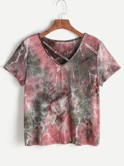 Mehrfarbige Krawatte Dye Print Crisscross V-Ausschnitt T-Shirt