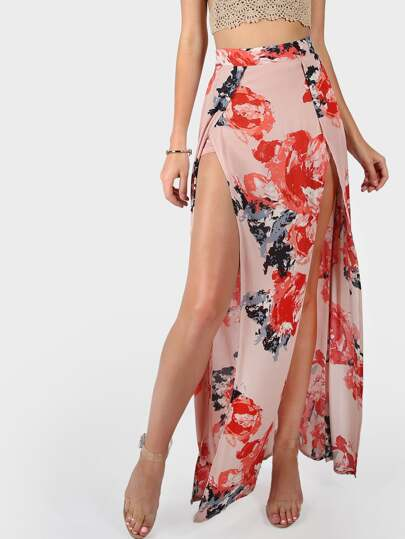 Floral Printed High Slit Skirt MAUVE