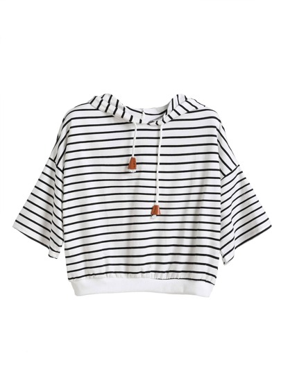 Hoodie Dropped Shoulder Seam Drawstring T-shirt