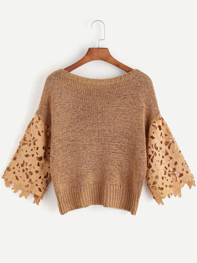 Khaki Boat Neck Contrast Lace Sleeve Crochet Top
