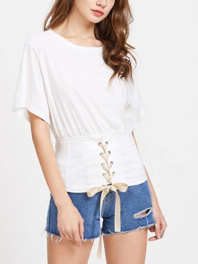 White Waist Eyelet Lace Up T-shirt