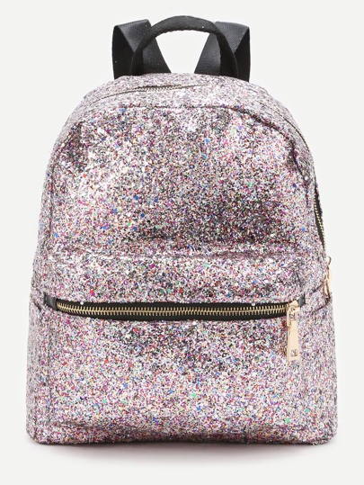 Pink Front Zipper Glitter Backpack