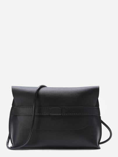Black Flap PU Crossbody Bag