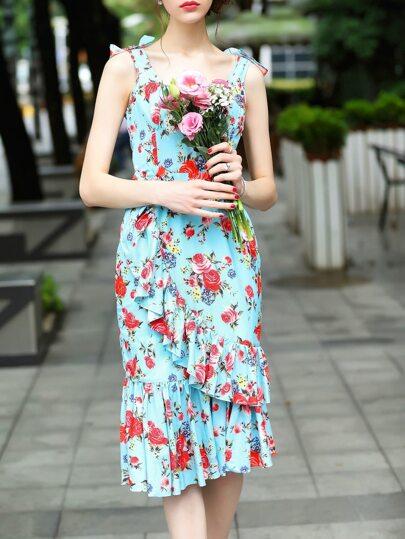 Robe collante bleue imprimé rose avec lacet sans dos