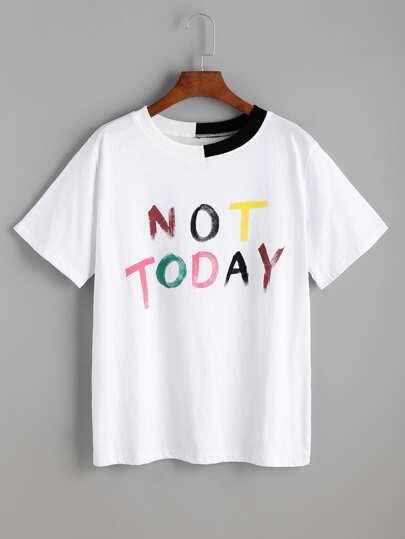 Contrasto bianco coste Lettera Trim Stampa T-shirt