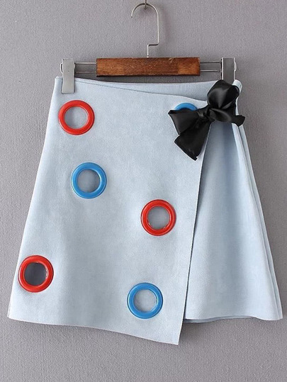 Overlap Large Eyelets Bow Detail Skirt