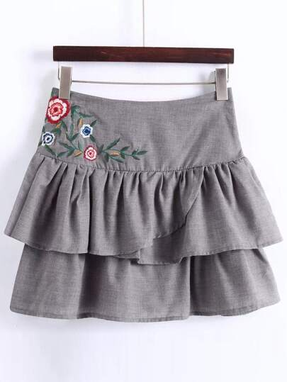 Grey Embroidery Layered A Line Skirt