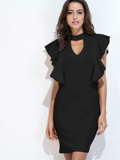 Keyhole Front Frill Trim Slit Back Dress
