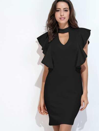 Black Cut Out Ruffle Trim Slit Back Dress