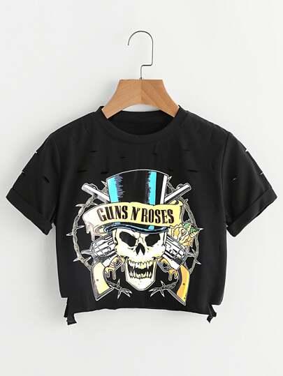 Camiseta negra de la cosecha del detalle del cr