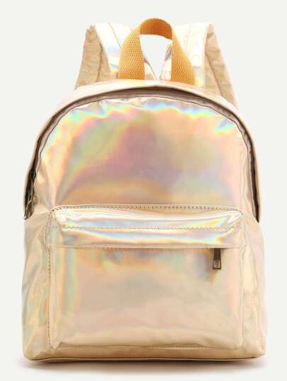 Gold Front Pocket PU Backpack