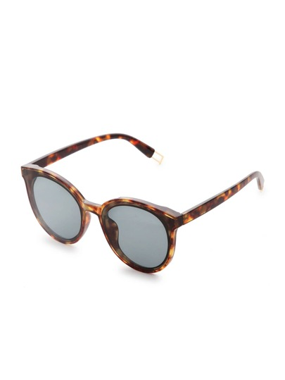 Leopard Frame Silver Lens Cat Eye Sunglasses