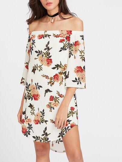 Bardot Neck Florals Curved Dip Hem Dress