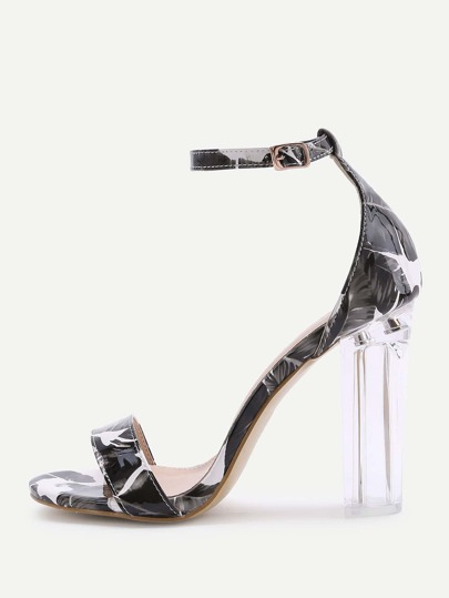 Black Leaf Print Two Part Heeled Sandals
