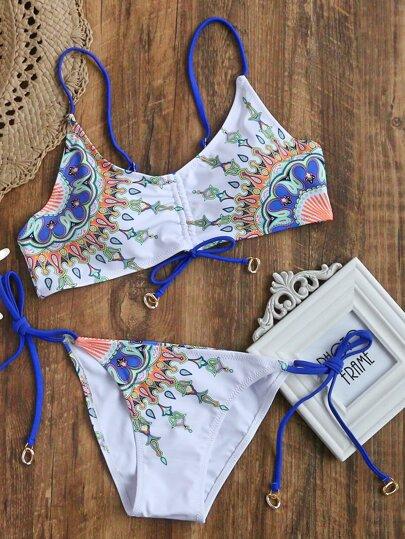 côté imprimé cravate bikini blanc ensemble