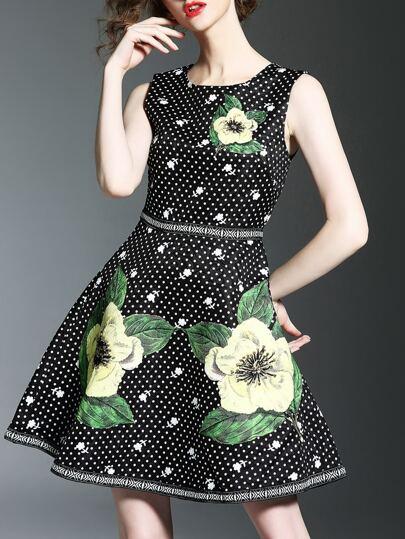 A-Linie Kleid mit Punkte Beads und Muster - schwarz
