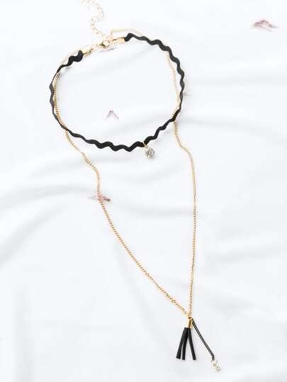 un foulard noir crystal et tassel charme couches