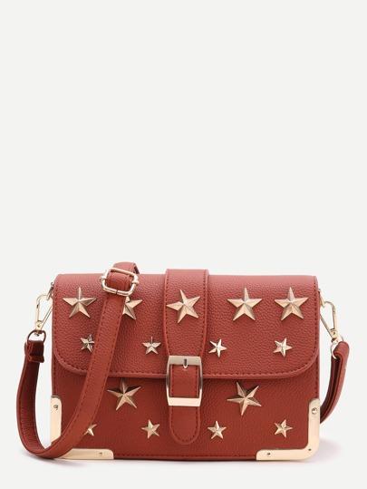 Brown Star Flap Crossbody Tasche