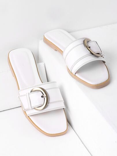 Sandales à glissière à boucle blanche