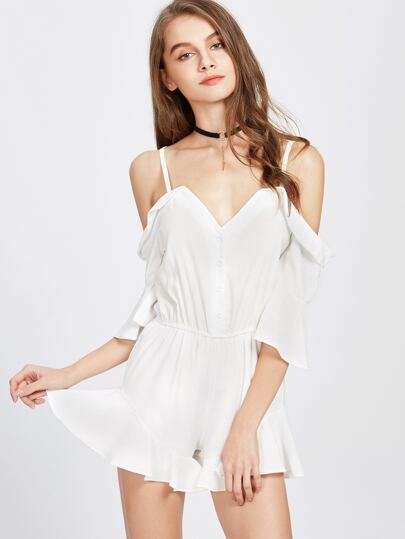 Cold Shoulder Frill Trim Romper