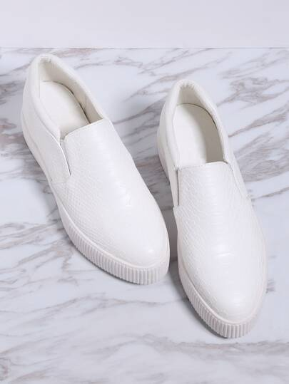 White Crocodile Pattern Flatform Sneakers