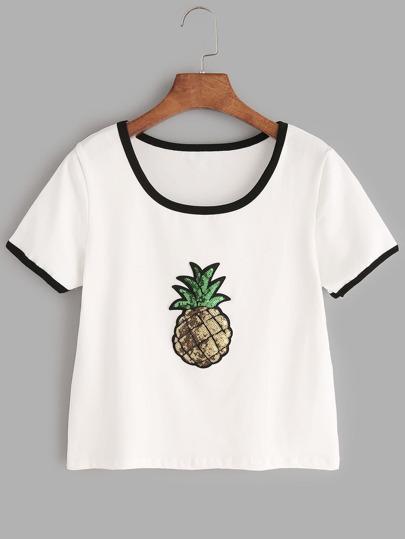 White Contrast Trim Sequin Detail T-shirt